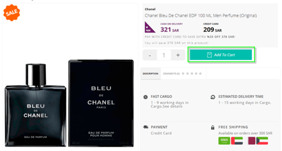 724 Perfumes Cart