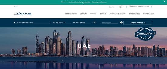 Oaks Hotels & Resorts Website