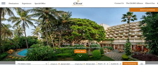 Oberoi Hotels Website