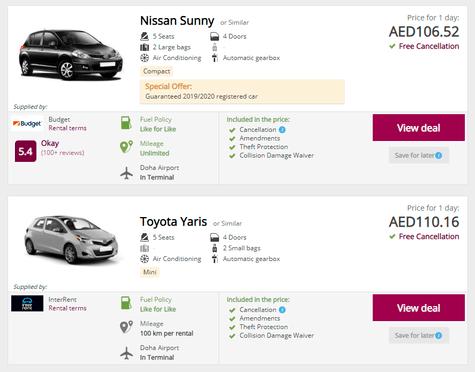 Qatar Airways Car Rentals